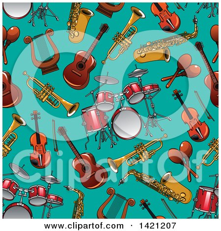 Clipart of a Seamless Pattern Background of Instruments - Royalty Free Vector Illustration by Vector Tradition SM