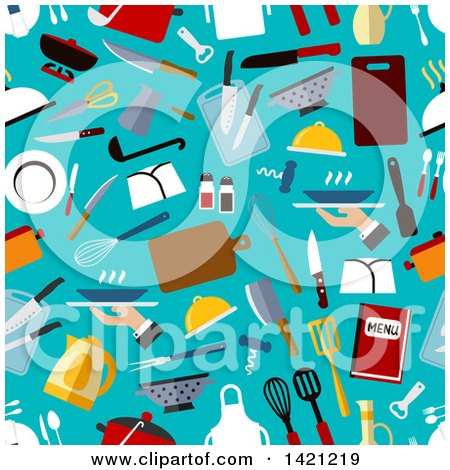 Clipart of a Seamless Pattern Background of Flat Design Menu and Restaurant Items - Royalty Free Vector Illustration by Vector Tradition SM