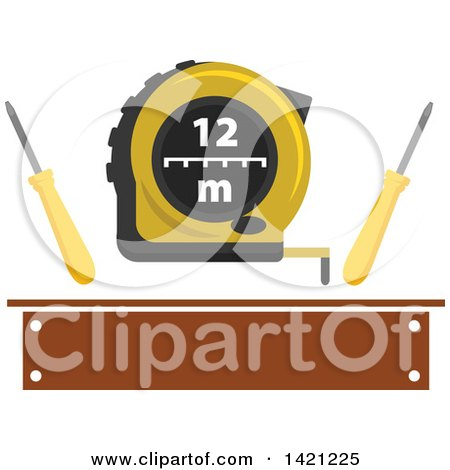 Clipart of Measuring Tape with Flat Tip Screwdrivers over a Brown Banner - Royalty Free Vector Illustration by Vector Tradition SM