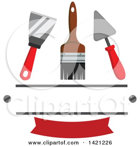 Spatula, Paintbrush and Trowel over a Red Banner and Text Space Posters, Art Prints