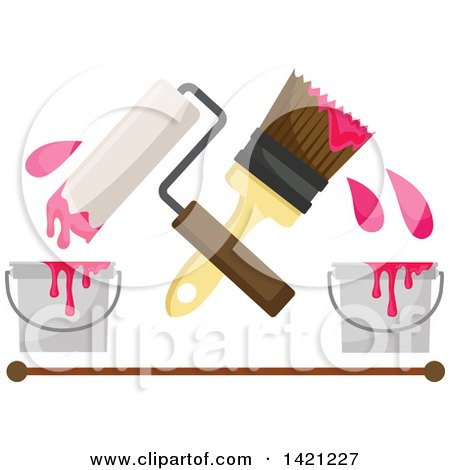 Clipart of a Crossed Paintbrush and Roller with Pink Paint Buckets over a Brown Line - Royalty Free Vector Illustration by Vector Tradition SM
