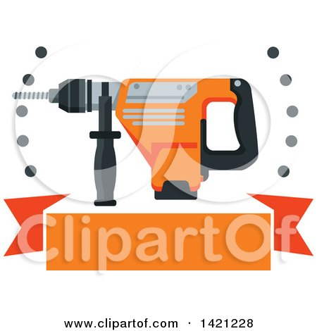 Clipart of a Rotary Hammer Drill with Holes over a Blank Orange Banner - Royalty Free Vector Illustration by Vector Tradition SM