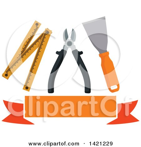 Clipart of a Spatula, Pliers and Folding Ruler over a Blank Orange Banner - Royalty Free Vector Illustration by Vector Tradition SM