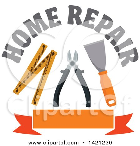 Clipart of Home Repair Text over a Spatula, Pliers and Folding Ruler over a Blank Orange Banner - Royalty Free Vector Illustration by Vector Tradition SM