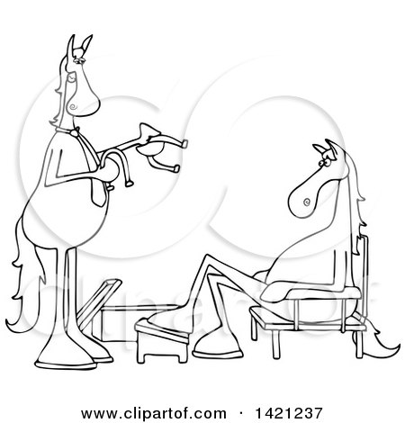 Clipart of a Cartoon Black and White Lineart Salesman and Horse Trying on Shoes - Royalty Free Vector Illustration by djart