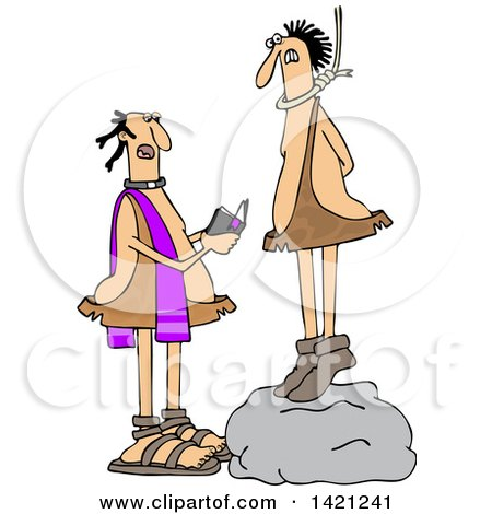 Clipart of a Cartoon Priest Reading a Caveman His Last Rights As He Stand on a Boulder with a Noose Around His Neck - Royalty Free Vector Illustration by djart