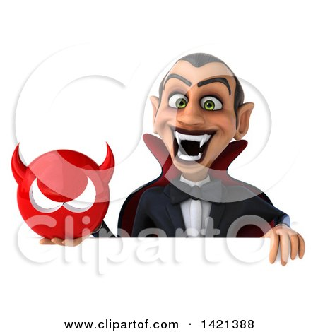Clipart of a 3d Dracula Vampire on a White Background - Royalty Free Illustration by Julos