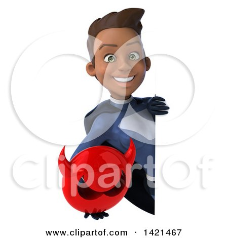 Clipart of a 3d Young Black Female Super Hero in a Dark Blue Suit, on a White Background - Royalty Free Illustration by Julos