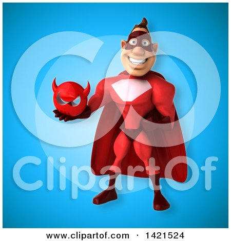 Clipart of a 3d Buff Red White Male Super Hero - Royalty Free Illustration by Julos