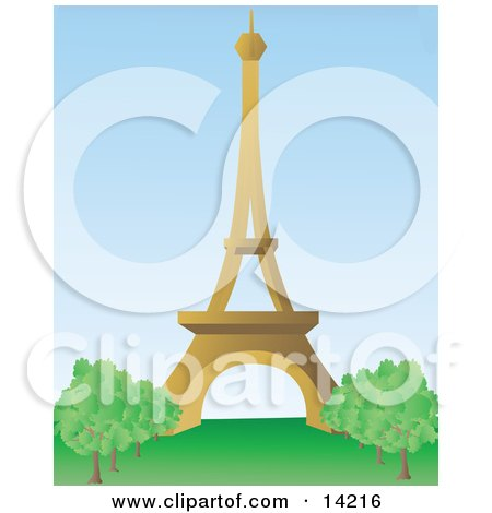 The Beautiful Eiffel Tower on the Champ de Mars in Paris, France Clipart Illustration by Rasmussen Images