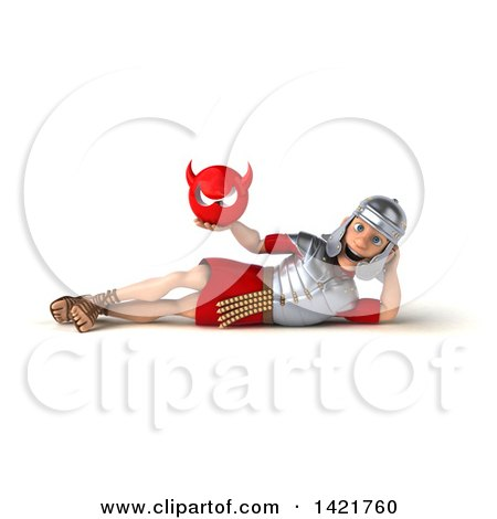 Clipart of a 3d Young Male Roman Legionary Soldier, on a White Background - Royalty Free Illustration by Julos