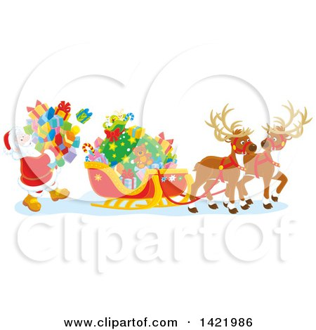 Clipart of a Reindeer Waiting As Santa Loads His Sleigh with Christmas Gifts - Royalty Free Vector Illustration by Alex Bannykh