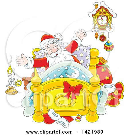 Clipart of Cartoon Santa Stretching in His Bed - Royalty Free Vector Illustration by Alex Bannykh