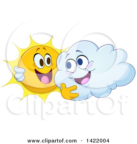 Clipart of a Cartoon Happy Sun and Cloud Hugging - Royalty Free Vector Illustration by yayayoyo