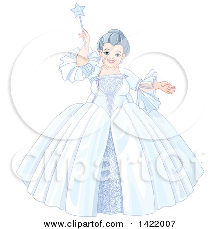 Clipart of a Happy Plump Fairy Godmother in a Wintry Dress, Holding up Her Magic Wand - Royalty Free Vector Illustration by Pushkin