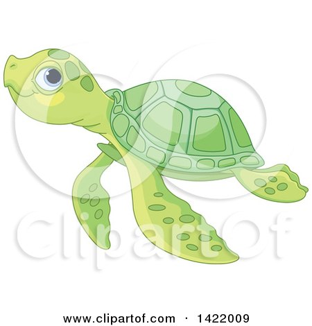 Clipart of a Cute Green Baby Sea Turtle Swimming - Royalty Free Vector Illustration by Pushkin