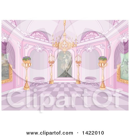 Clipart of a Pink Palace Interior with Plants, Candles, a Chandelier and Paintings - Royalty Free Vector Illustration by Pushkin