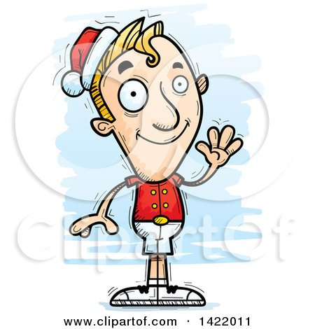 Clipart of a Cartoon Doodled Male Christmas Elf Waving - Royalty Free Vector Illustration by Cory Thoman