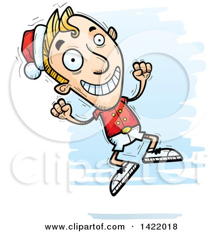Clipart of a Cartoon Doodled Male Christmas Elf Jumping for Joy - Royalty Free Vector Illustration by Cory Thoman