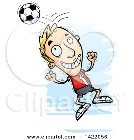Clipart of a Cartoon Doodled Male Soccer Player Jumping and Bouncing a Ball off of His Head - Royalty Free Vector Illustration by Cory Thoman
