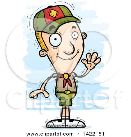 Clipart of a Cartoon Doodled Boy Scout Waving - Royalty Free Vector Illustration by Cory Thoman