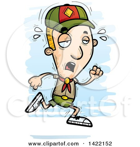 Clipart of a Cartoon Doodled Exhausted Boy Scout Running - Royalty Free Vector Illustration by Cory Thoman