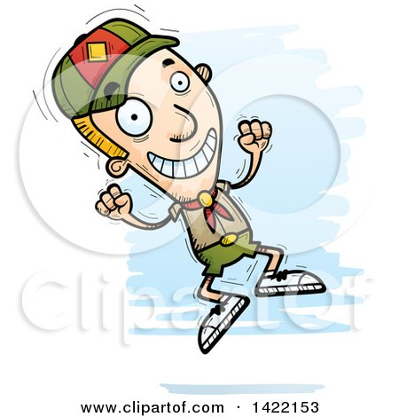 Clipart of a Cartoon Doodled Boy Scout Jumping for Joy - Royalty Free Vector Illustration by Cory Thoman