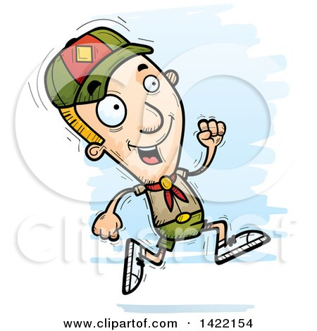 Clipart of a Cartoon Doodled Boy Scout Running - Royalty Free Vector Illustration by Cory Thoman