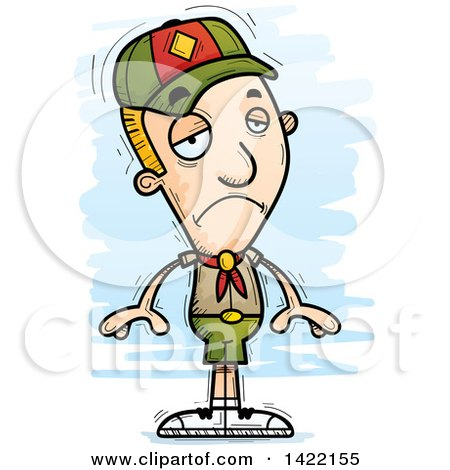 Clipart of a Cartoon Doodled Depressed Boy Scout - Royalty Free Vector Illustration by Cory Thoman