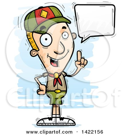 Clipart of a Cartoon Doodled Boy Scout Holding up a Finger and Talking - Royalty Free Vector Illustration by Cory Thoman