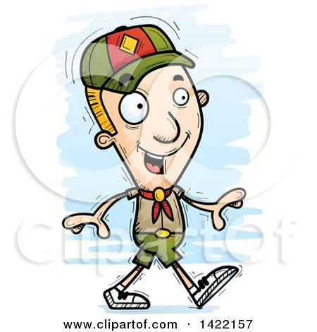 Clipart of a Cartoon Doodled Boy Scout Walking - Royalty Free Vector Illustration by Cory Thoman
