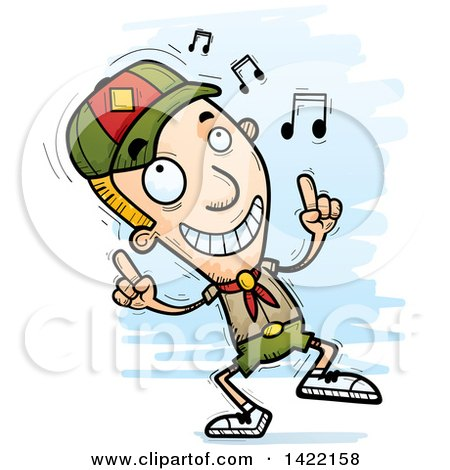 Clipart of a Cartoon Doodled Boy Scout Dancing to Music - Royalty Free Vector Illustration by Cory Thoman
