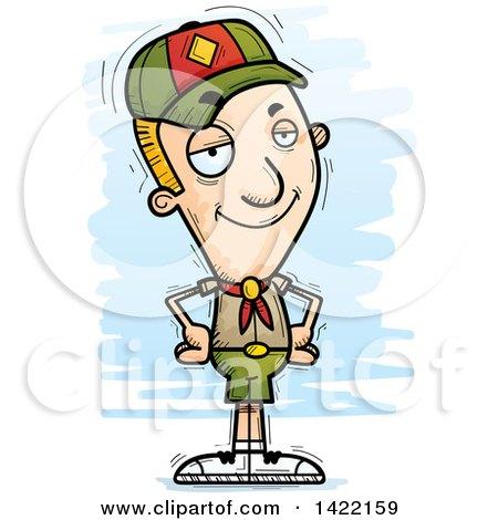 Clipart of a Cartoon Doodled Confident Boy Scout with Hands on His Hips - Royalty Free Vector Illustration by Cory Thoman