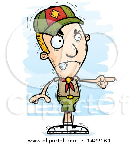 Clipart of a Cartoon Doodled Boy Scout Angrily Pointing the Finger - Royalty Free Vector Illustration by Cory Thoman