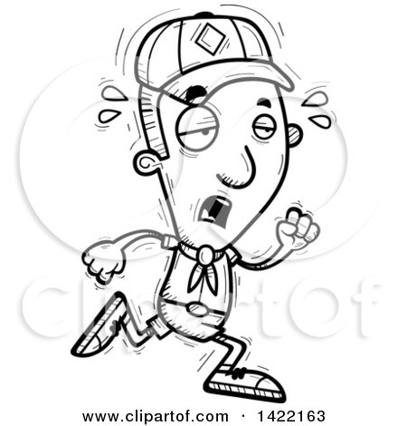 Clipart of a Cartoon Black and White Lineart Doodled Exhausted Boy Scout Running - Royalty Free Vector Illustration by Cory Thoman