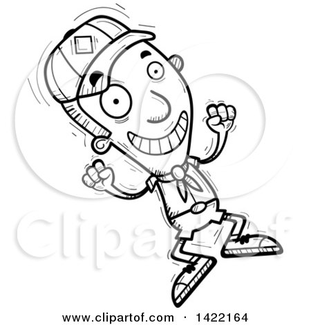 Clipart of a Cartoon Black and White Lineart Doodled Boy Scout Jumping for Joy - Royalty Free Vector Illustration by Cory Thoman