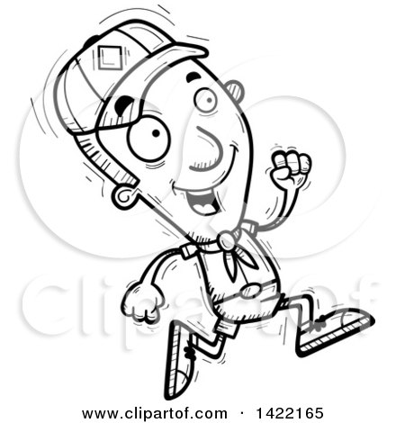 Clipart of a Cartoon Black and White Lineart Doodled Boy Scout Running - Royalty Free Vector Illustration by Cory Thoman