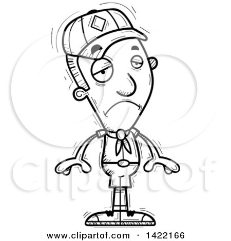 Clipart of a Cartoon Black and White Lineart Doodled Depressed Boy Scout - Royalty Free Vector Illustration by Cory Thoman