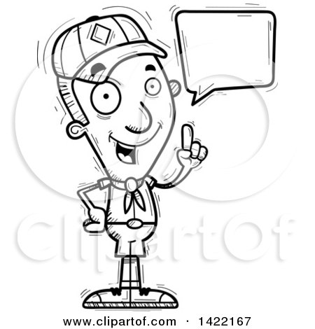 Clipart of a Cartoon Black and White Lineart Doodled Boy Scout Holding up a Finger and Talking - Royalty Free Vector Illustration by Cory Thoman