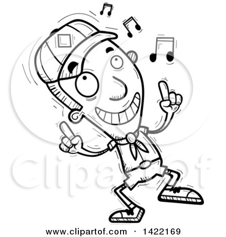 Clipart of a Cartoon Black and White Lineart Doodled Boy Scout Dancing to Music - Royalty Free Vector Illustration by Cory Thoman