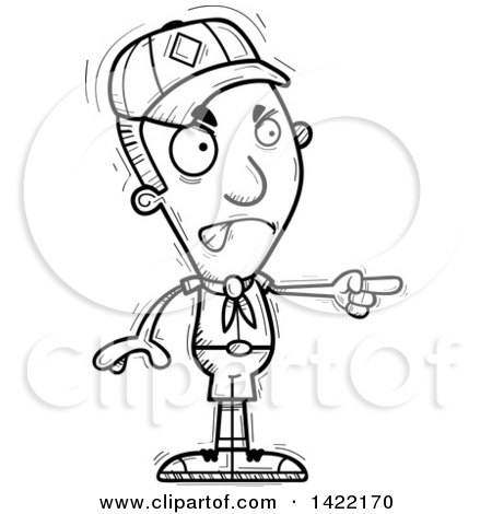 Clipart of a Cartoon Black and White Lineart Doodled Boy Scout Angrily Pointing the Finger - Royalty Free Vector Illustration by Cory Thoman