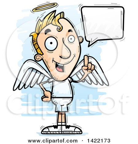 Clipart of a Cartoon Doodled Male Angel Holding up a Finger and Talking - Royalty Free Vector Illustration by Cory Thoman