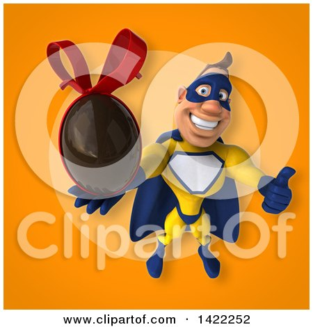 Clipart of a 3d Muscular White Male Super Hero in a Yellow and Blue Suit - Royalty Free Illustration by Julos