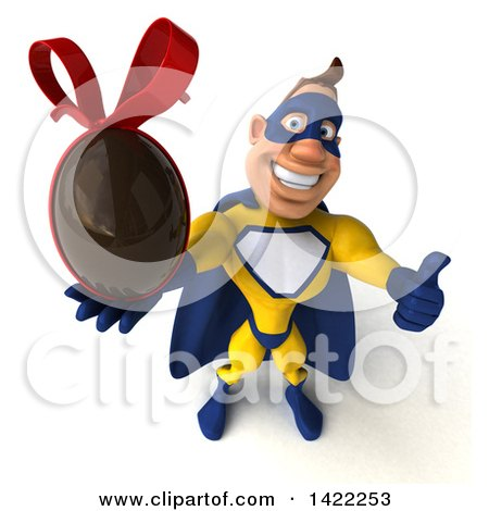 Clipart of a 3d Muscular White Male Super Hero in a Yellow and Blue Suit, on a White Background - Royalty Free Illustration by Julos