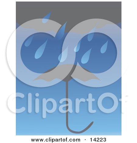 Dark Rain Cloud Raining Over an Umbrella Clipart Illustration by Rasmussen Images