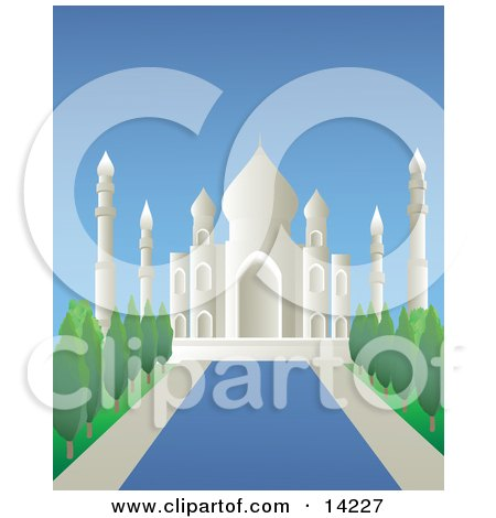 Reflecting Pool Leading Through the Gardens at the Taj Mahal Masoleum in Agra, India Clipart Illustration by Rasmussen Images