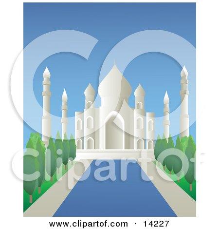 Reflecting Pool Leading Through the Gardens at the Taj Mahal Masoleum in Agra, India Posters, Art Prints
