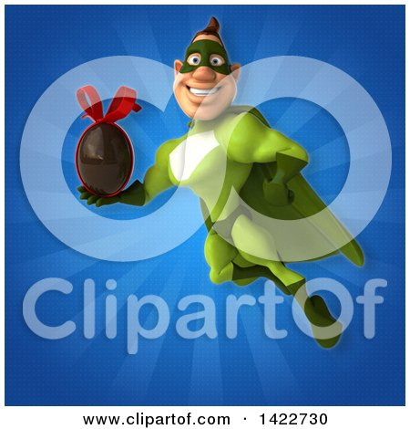 Clipart of a 3d Buff White Male Green Super Hero - Royalty Free Illustration by Julos
