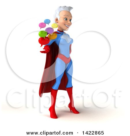 Clipart of a 3d Young White Haired Caucasian Female Super Hero in a Blue and Red Suit, on a White Background - Royalty Free Vector Illustration by Julos