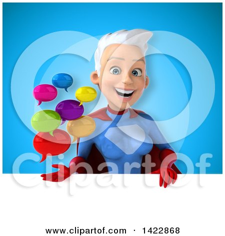 Clipart of a 3d Young White Haired Caucasian Female Super Hero in a Blue and Red Suit - Royalty Free Vector Illustration by Julos